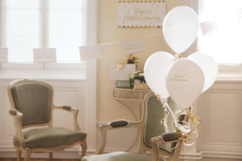 Ballon Joyeux Anniversaire Métallisé Blanc (Lot de 8)