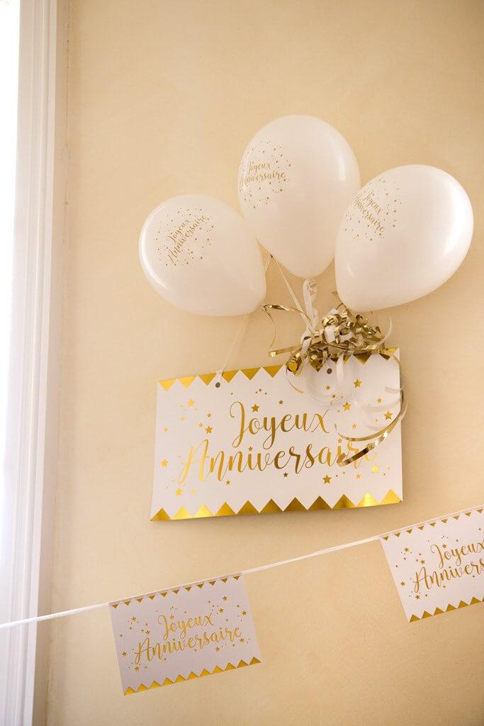 Guirlande Fanions Joyeux Anniversaire Blanc/Or