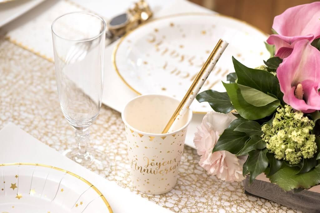 Gobelet Joyeux Anniversaire Or/Blanc (lot de 10)