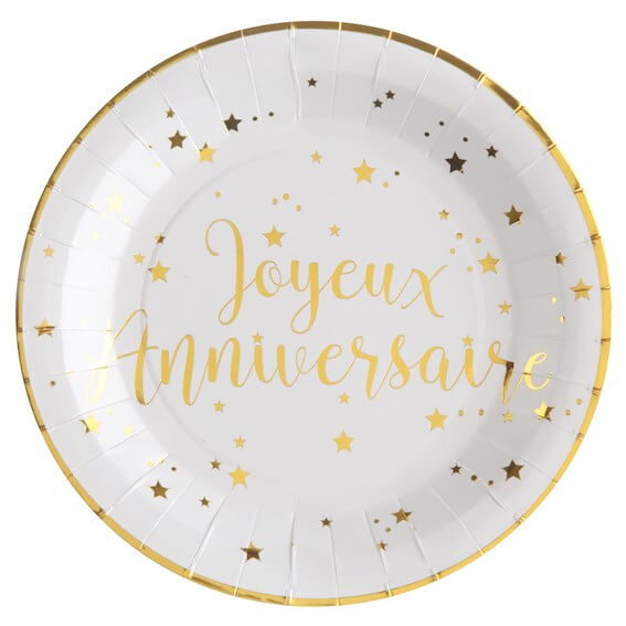Assiette Joyeux Anniversaire Or/Blanc (lot de 10)