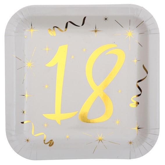 Assiette carré Blanc/Or 18 ans (Lot de 10)