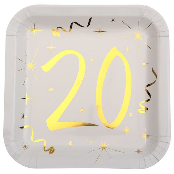 Assiette carré Blanc/Or 20 ans (Lot de 10)