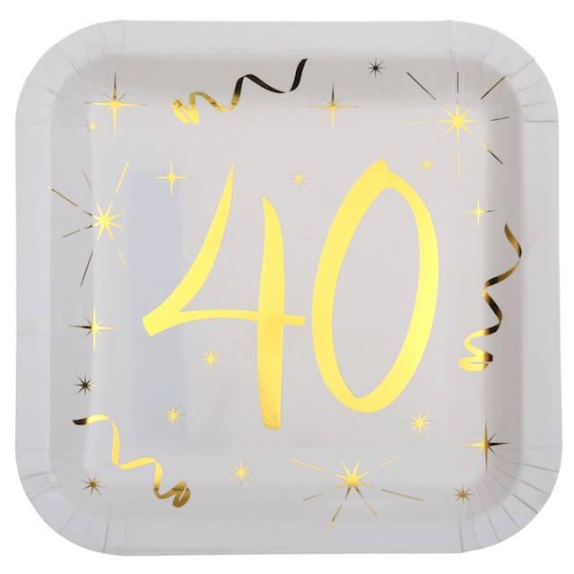 Assiette carré Blanc/Or 40 ans (Lot de 10)