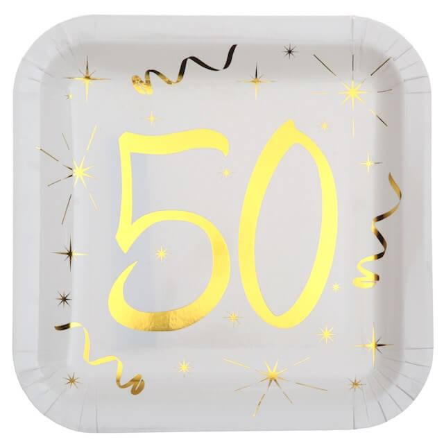 Assiette carré Blanc/Or 50 ans (Lot de 10)
