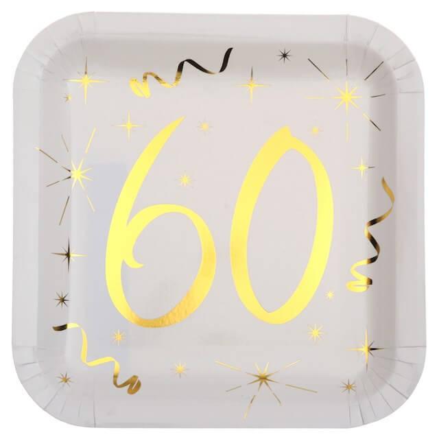 Assiette carré Blanc/Or 60 ans (Lot de 10)