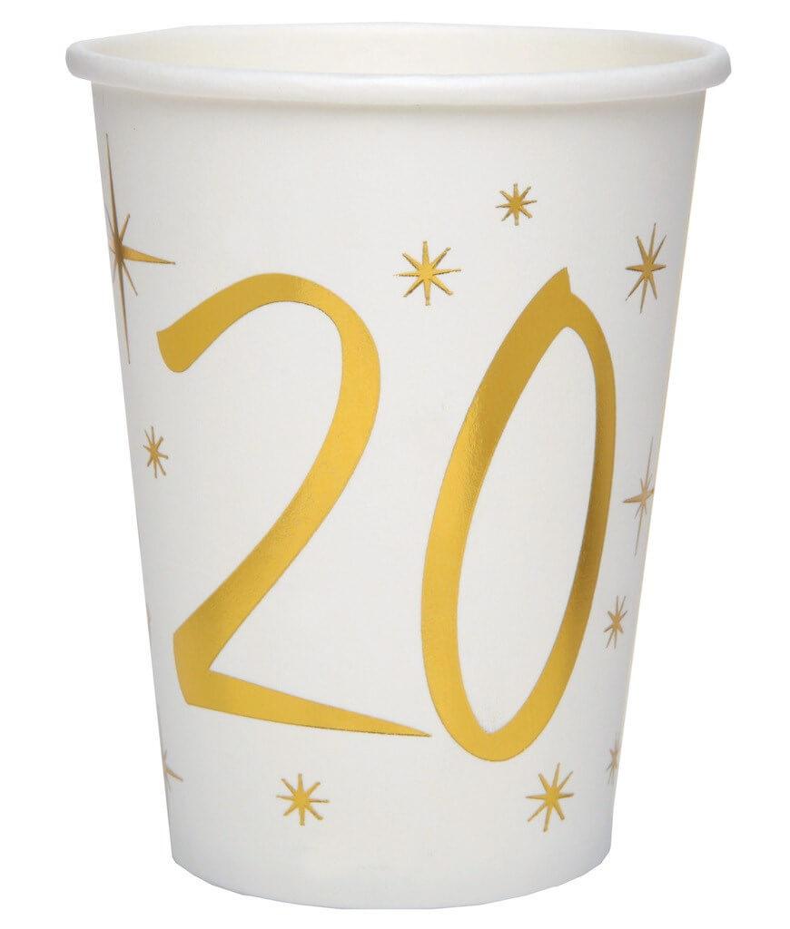 Gobelet en papier Blanc/Or 20 ans (Lot de 10)