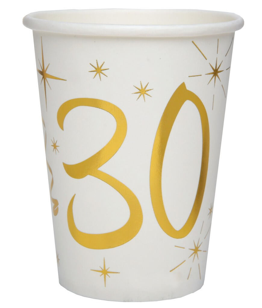Gobelet en papier Blanc/Or 30 ans (Lot de 10)