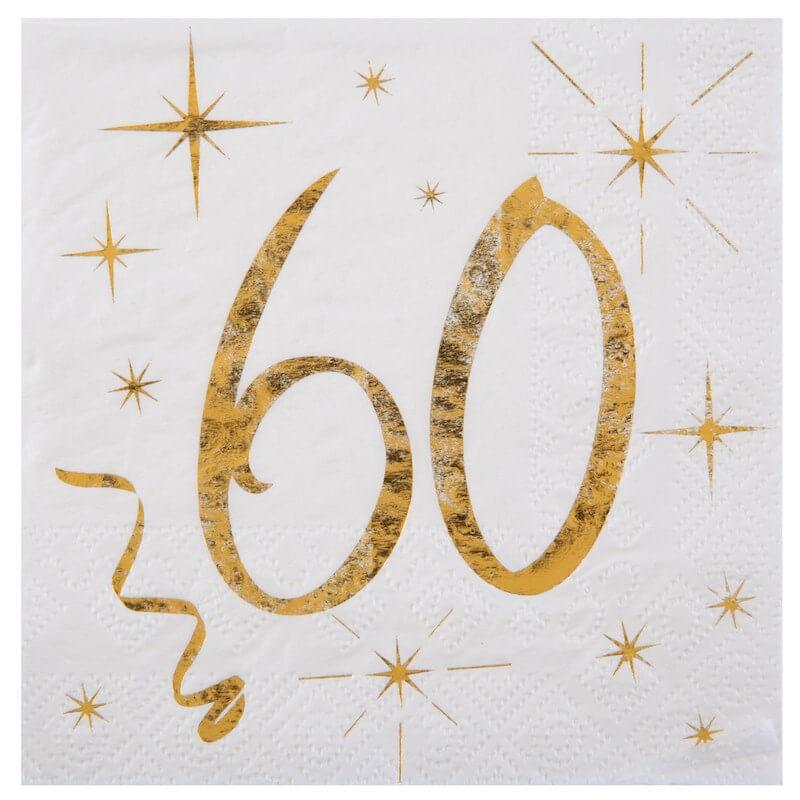 Serviette en Papier Blanc/Or 60 ans (Lot de 20)