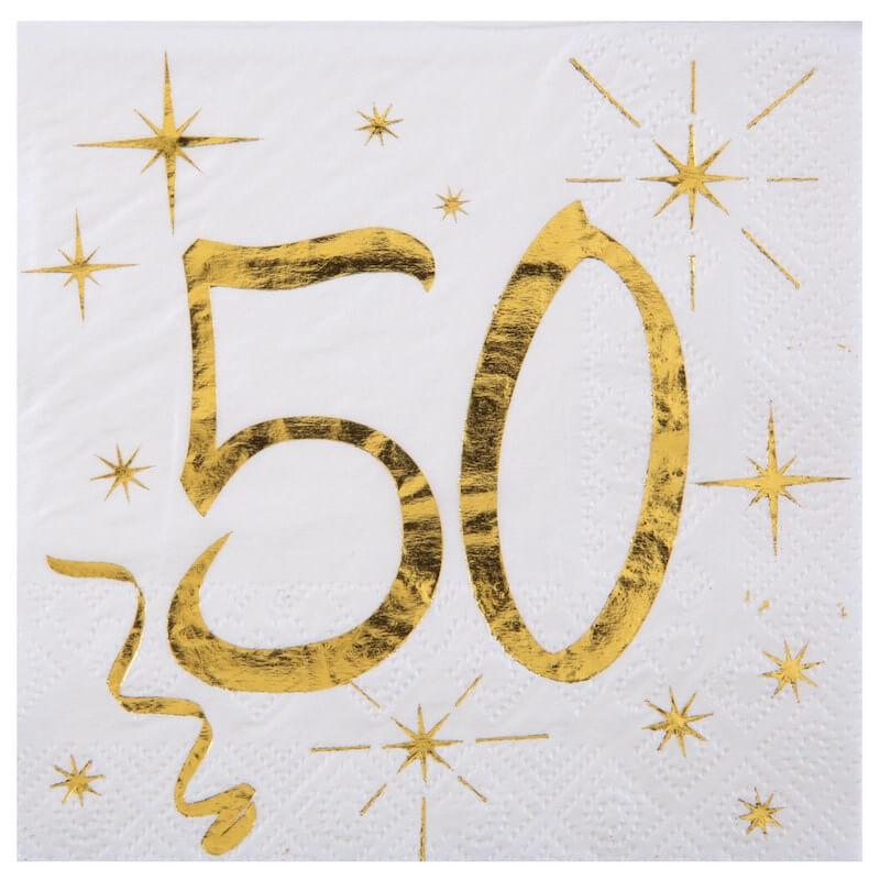 Serviette en Papier Blanc/Or 50 ans (Lot de 20)