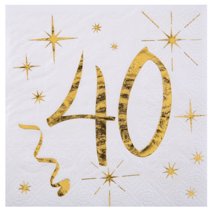 Serviette en Papier Blanc/Or 40 ans (Lot de 20)