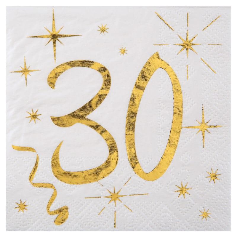 Serviette en Papier Blanc/Or 30 ans (Lot de 20)