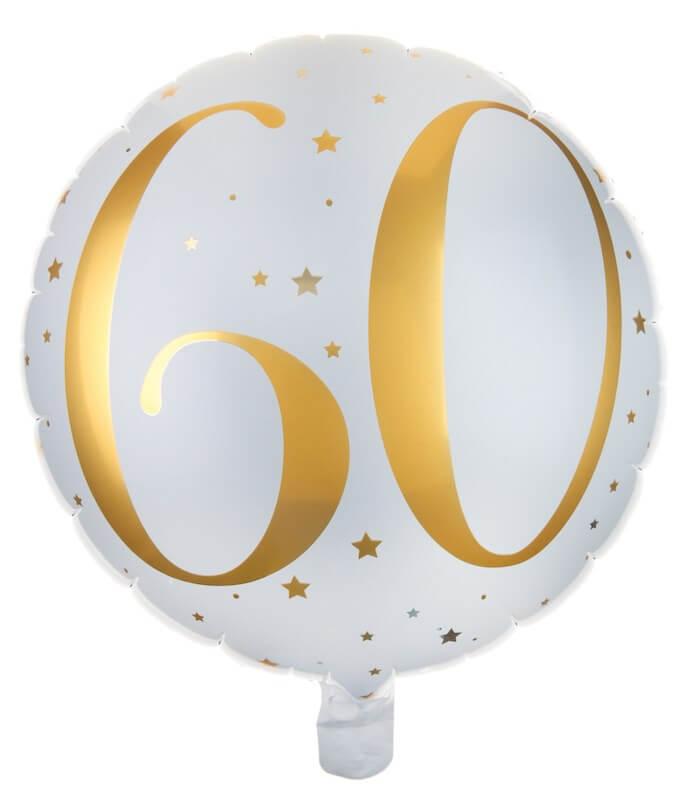 Ballon Blanc/Or 60ans ø45cm