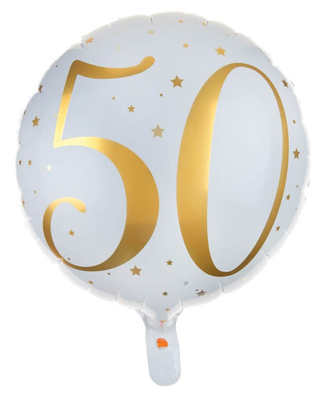 Ballon Blanc/Or 50ans ø45cm