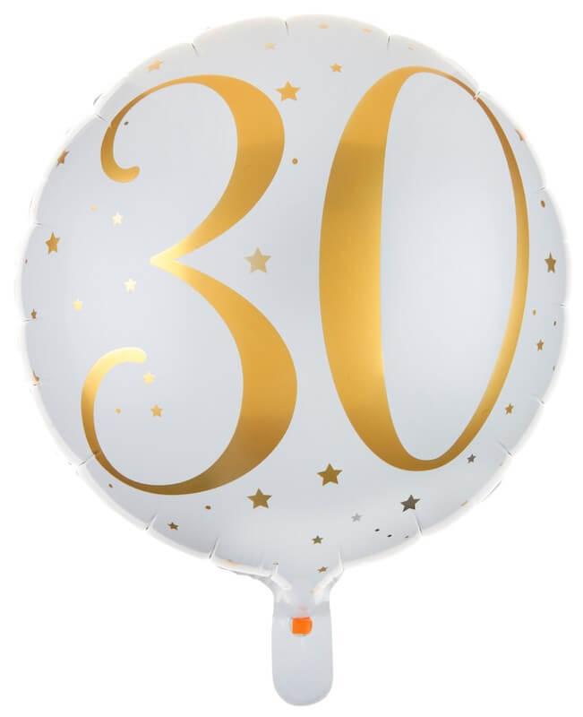 Ballon Blanc/Or 30ans ø45cm