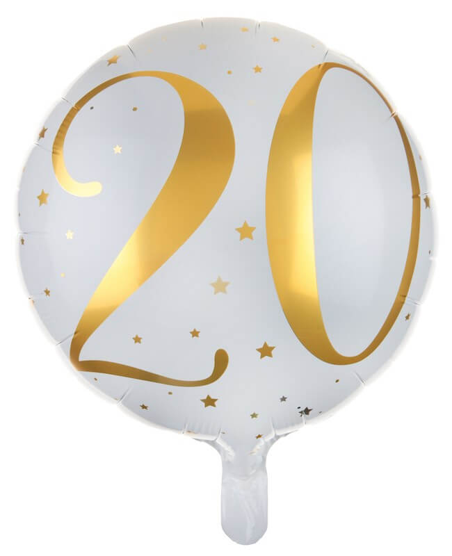 Ballon Blanc/Or 20ans ø45cm