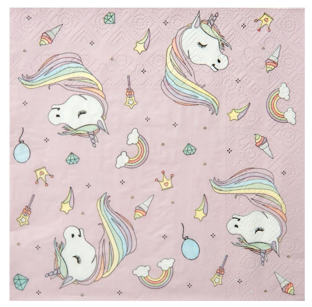 Serviette en papier Licorne Rose (Lot de 20)