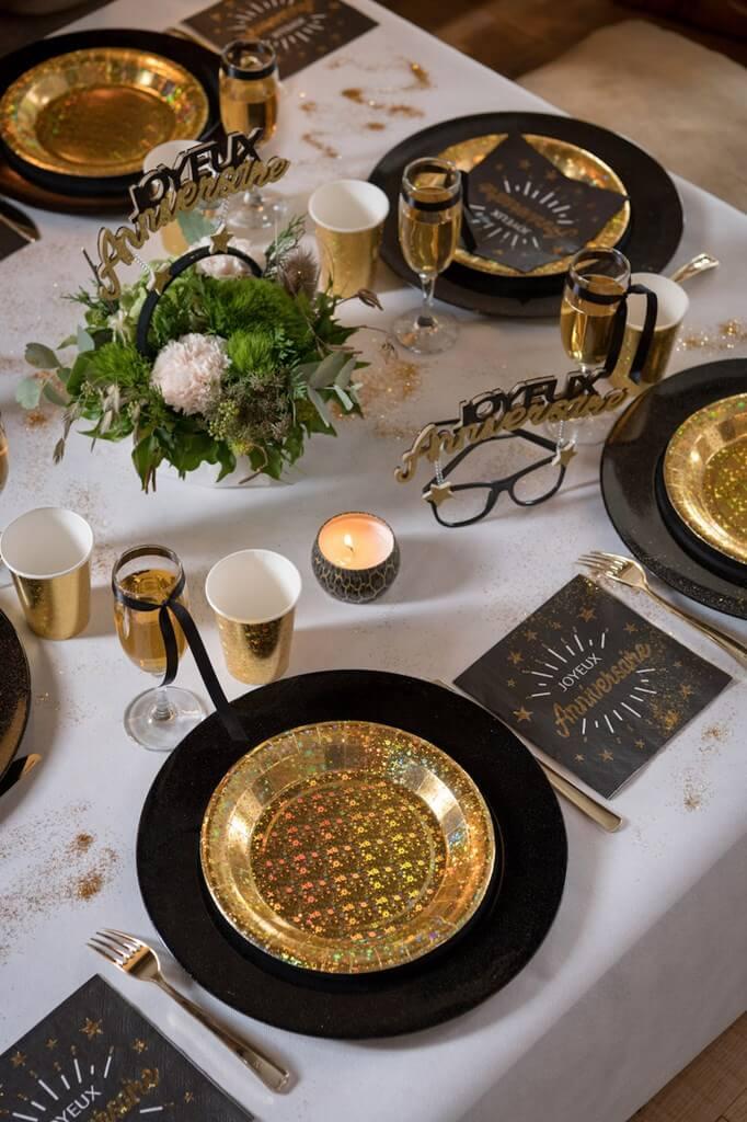 Serviette Joyeux Anniversaire Noir/Or (lot de 10)