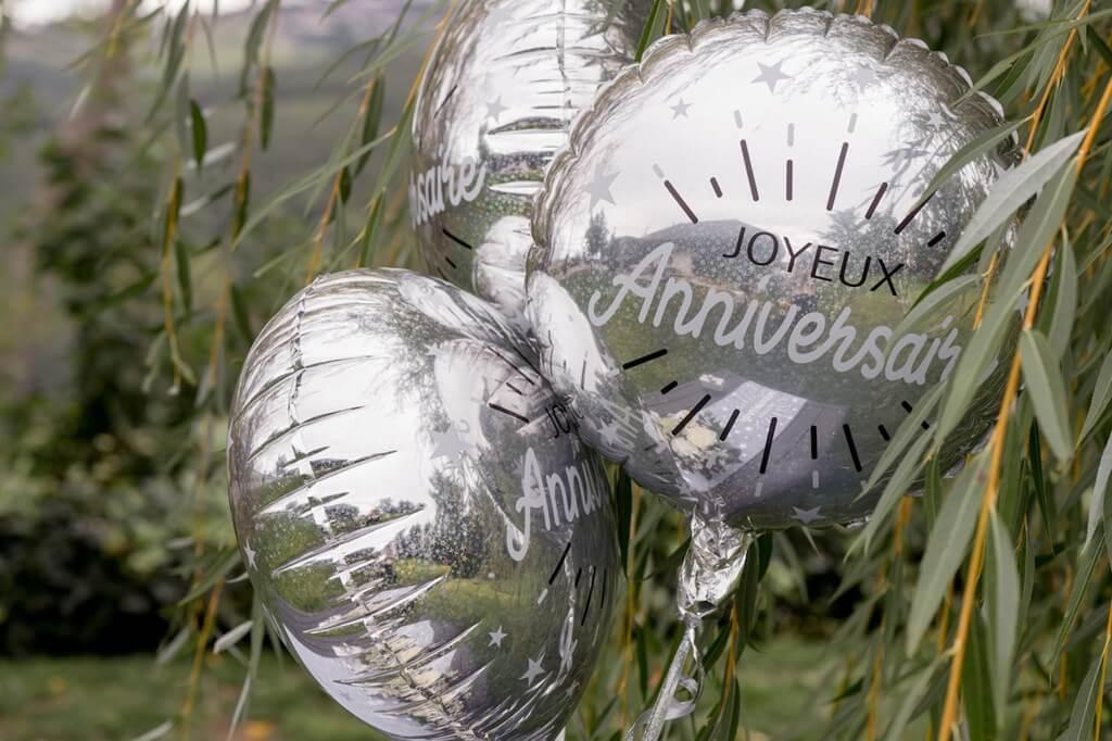 Ballon Joyeux Anniversaire Argent ø45cm