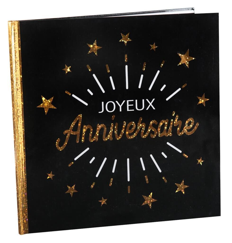 Livre d'Or Joyeux Anniversaire Métallisé Noir/Or