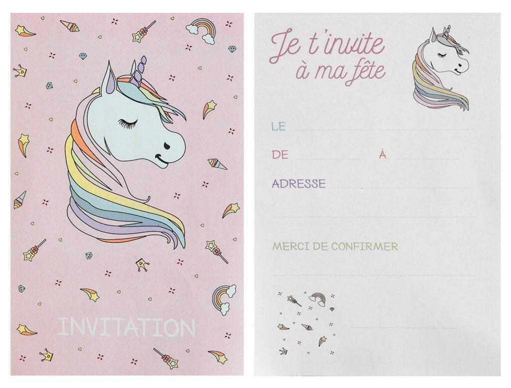 Carte Invitation Licorne Rose (Lot de 6)