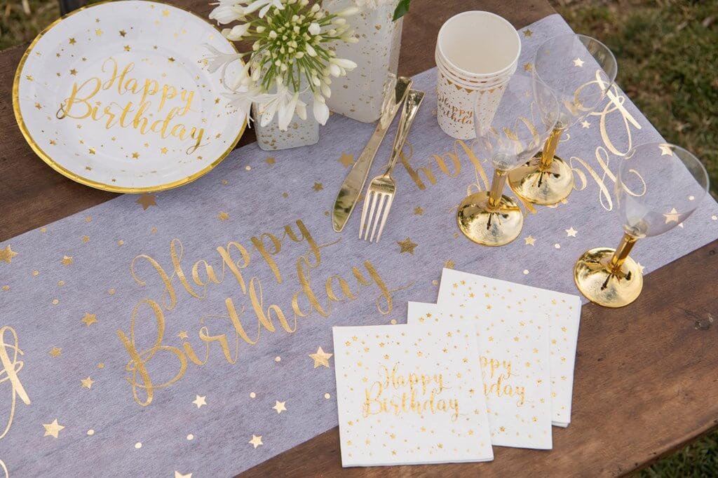 Chemin de table Happy Birthday Blanc/Or 5 mètres