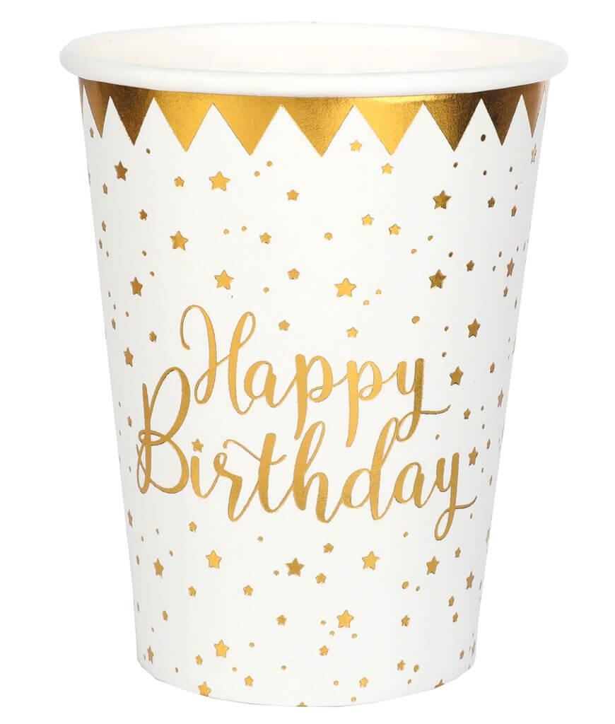 Gobelet Happy Birthday Or/Blanc (lot de 10)