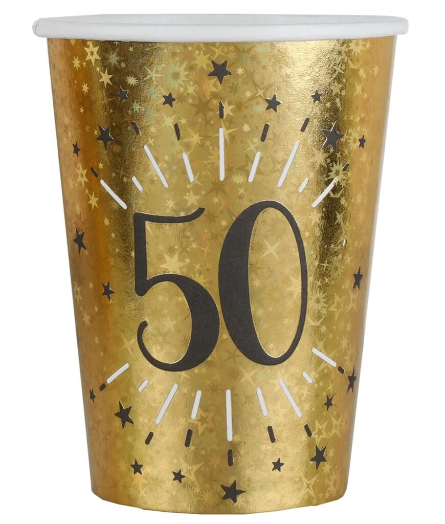 Gobelet en papier 50 ans Or (lot de 10)