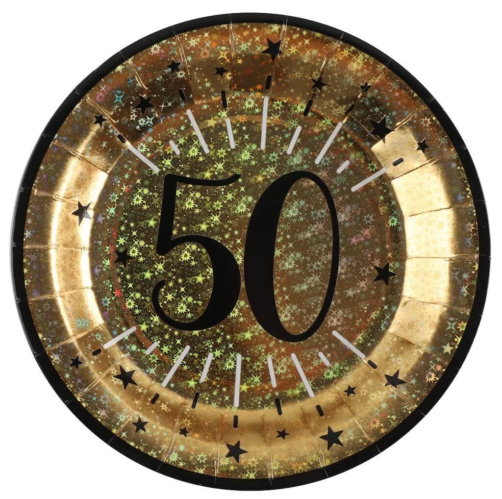 Assiette en papier Or 50 ans (lot de 10)