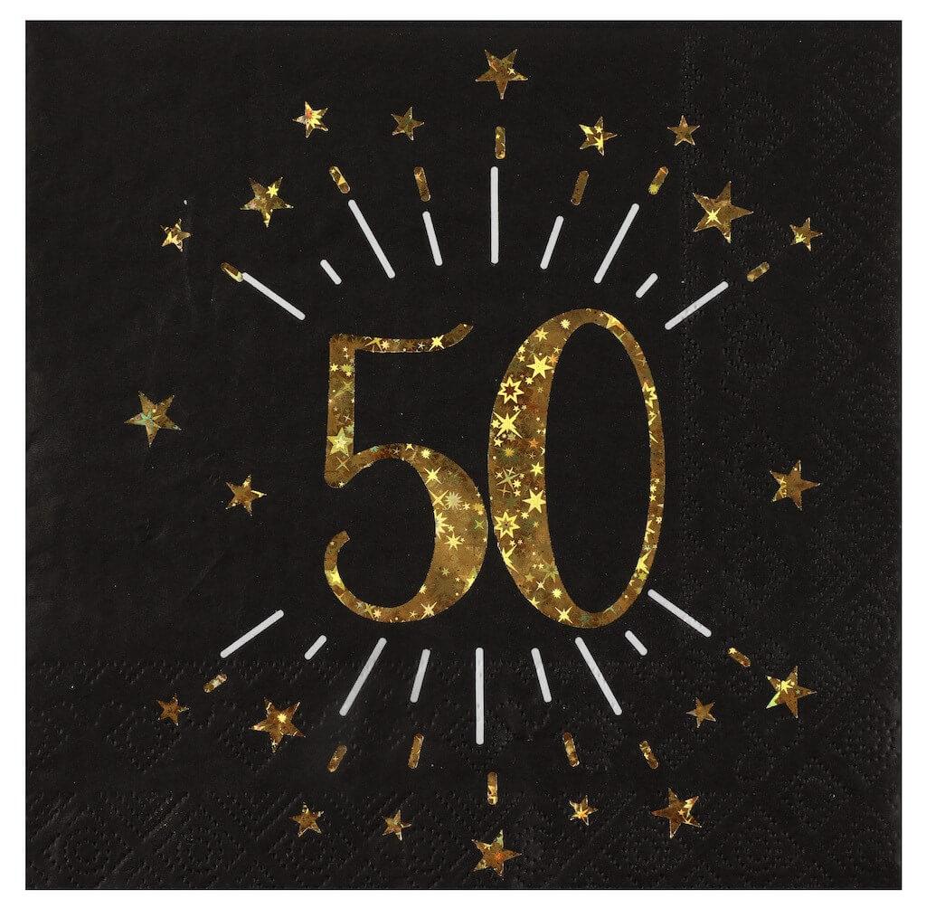 Serviette en papier 50 ans Noir/Or (lot de 10)