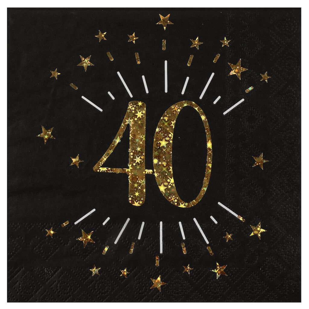 Serviette en papier 40 ans Noir/Or (lot de 20)