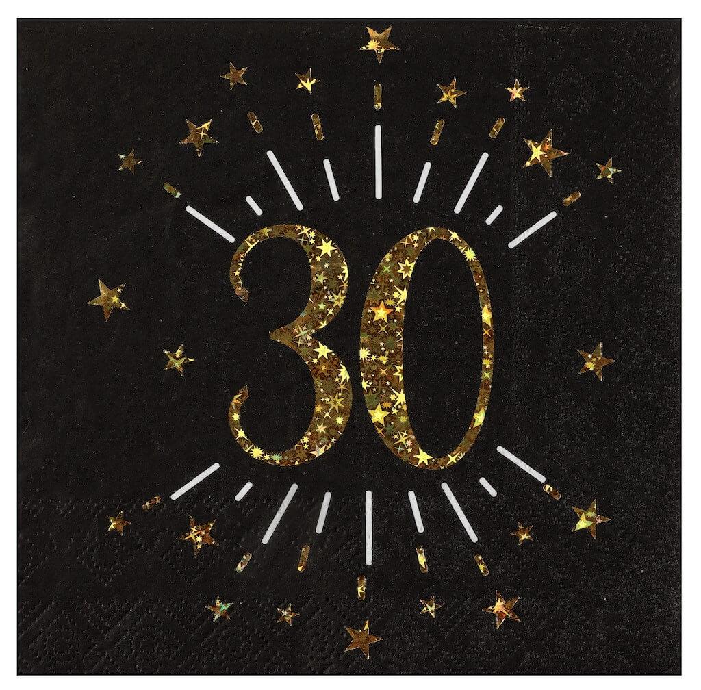 Serviette en papier 30 ans Noir/Or (lot de 20)