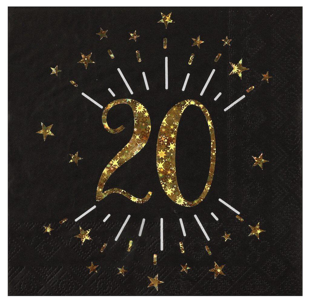 Serviette en papier 20 ans Noir/Or (lot de 10)