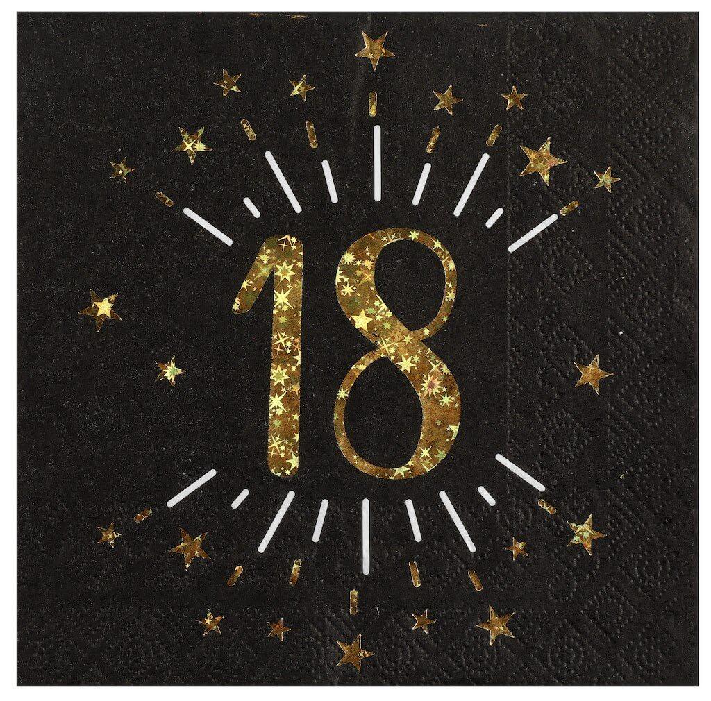 Serviette en papier 18 ans Noir/Or (lot de 20)