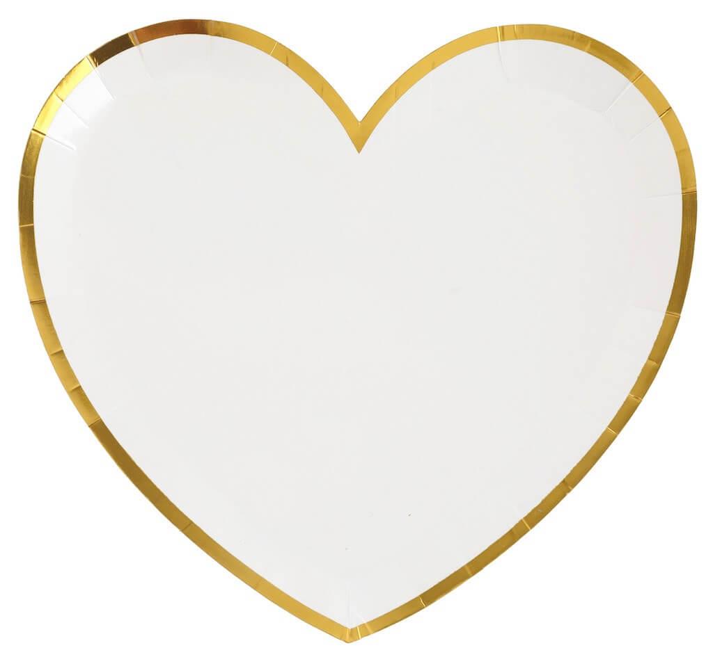 Assiette Forme Coeur Blanc/Or (Lot de 10)