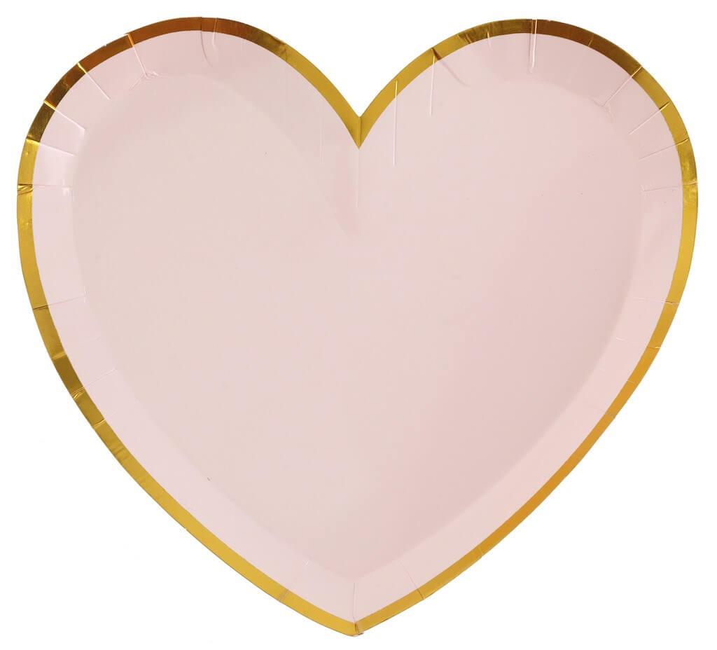 Assiette Forme Coeur Rose/Or (Lot de 10)