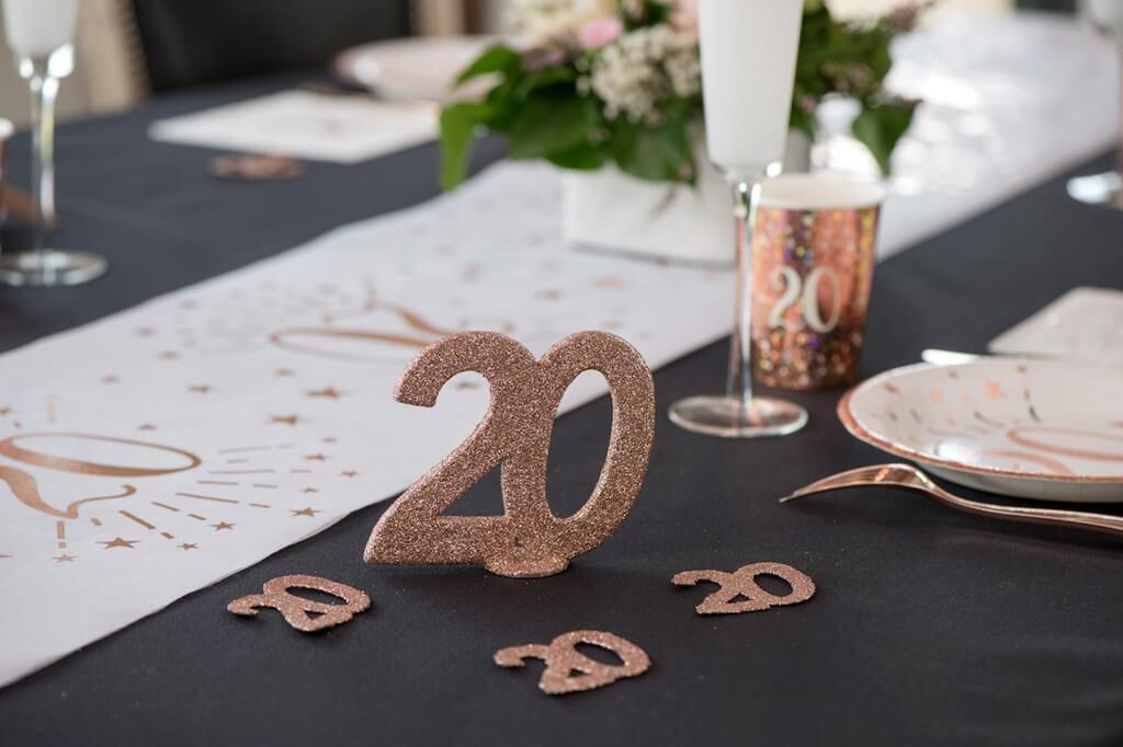 Décoration de Table Chiffre 20 Pailleté Or Rose