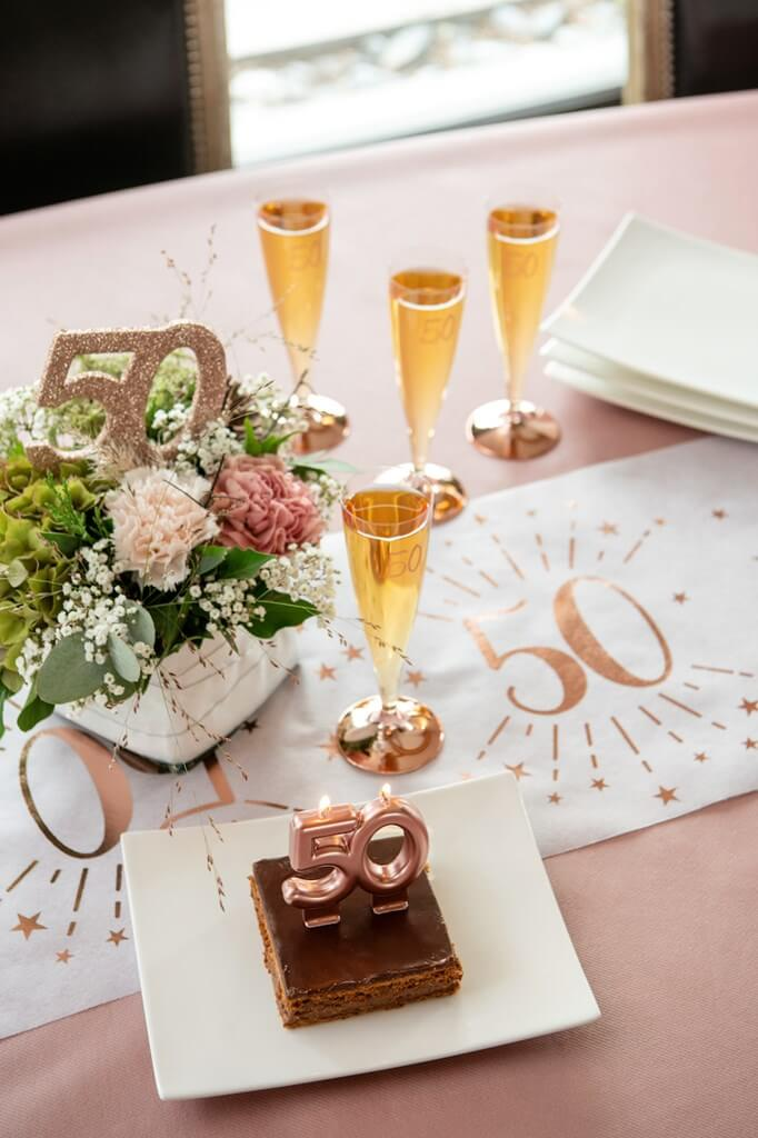Bougie 50 ans Or rose
