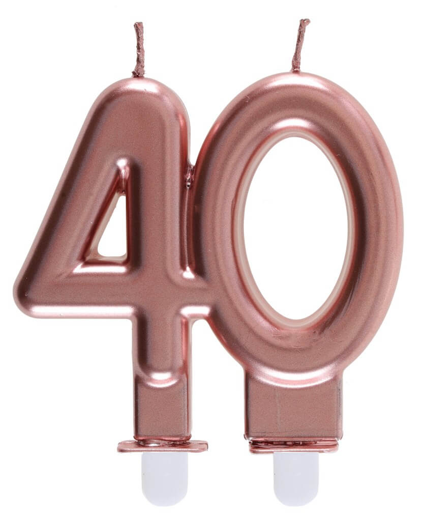 Bougie 40 ans Or rose