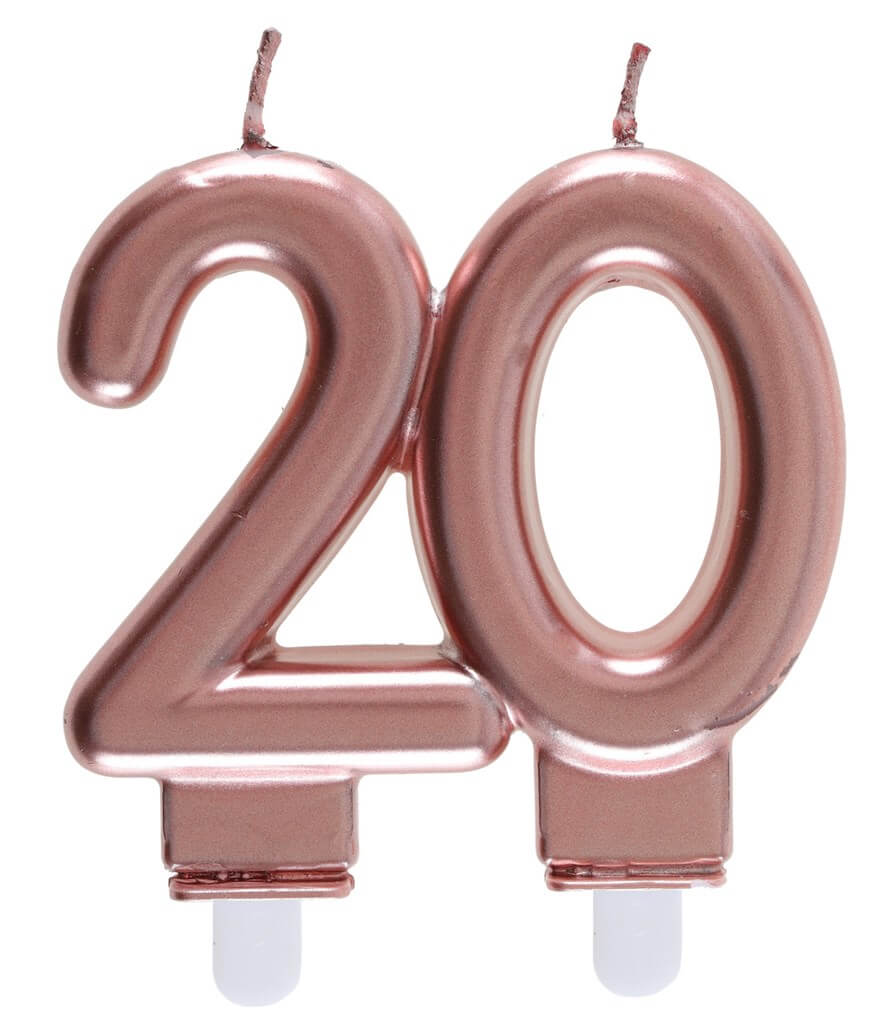 Bougie 20 ans Or rose