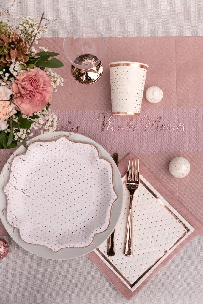 Assiette Originale Blanche à Pois Or Rose (lot de 10)
