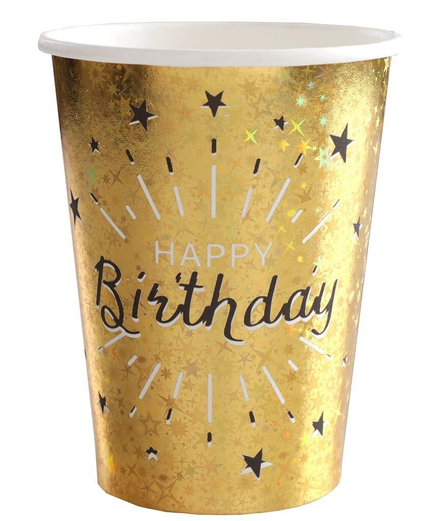 Gobelet Happy Birthday Or Métallisé (lot de 10)
