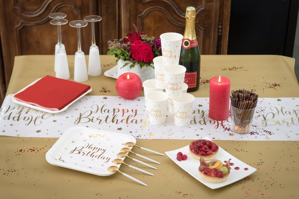 Assiette Carrée Happy Birthday Or/Blanc (lot de 10)