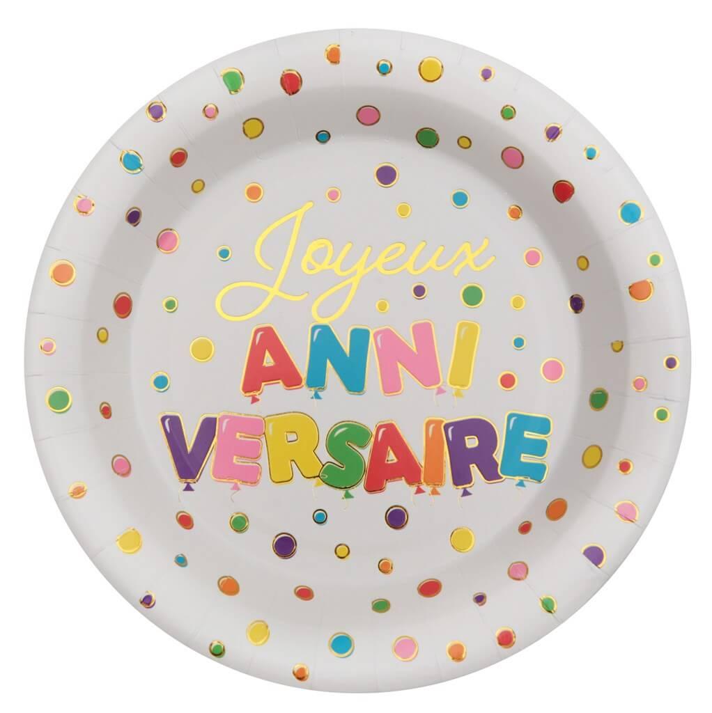 Assiette Joyeux Anniversaire ballon (Lot de 10)