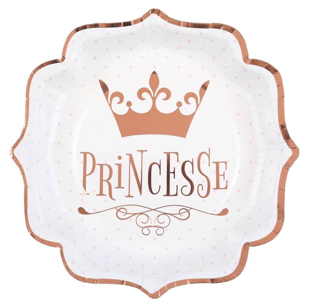 Assiette Princesse Or Rose (lot de 10)