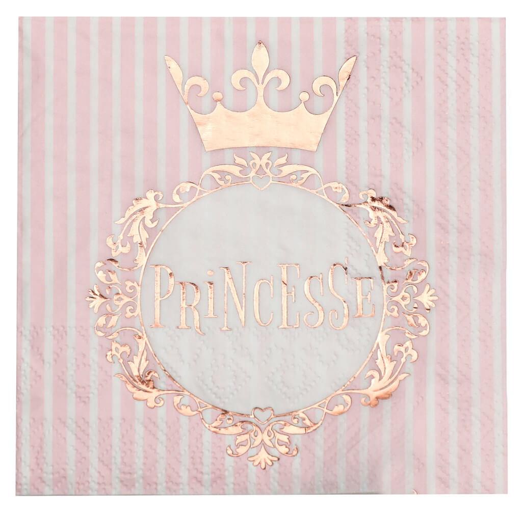 Serviette Princesse Or Rose (lot de 20)
