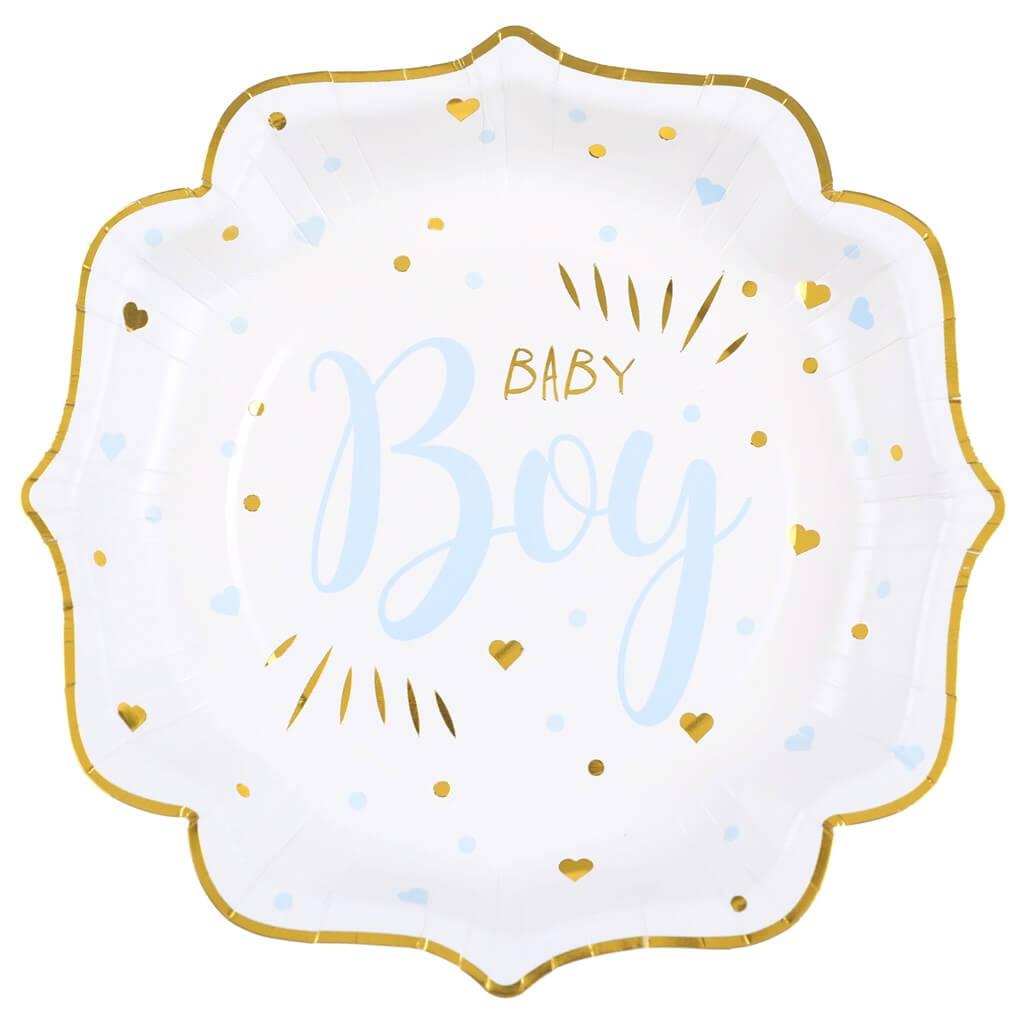 Assiette Baby Shower Boy Bleu (lot de 10)