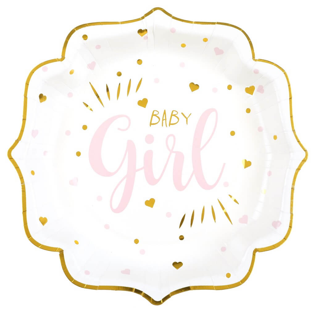 Assiette Baby Shower Girl Rose (lot de 10)