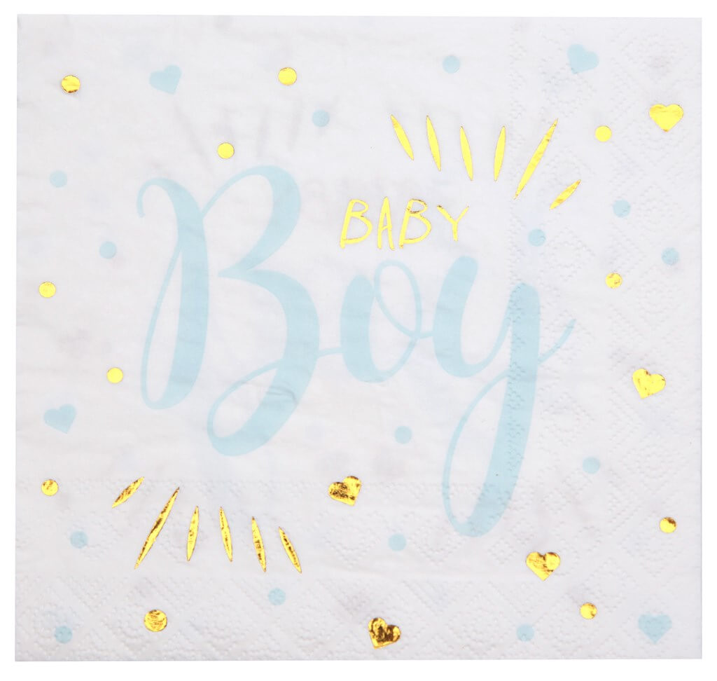 Serviette Baby Shower Boy Bleu (lot de 20)