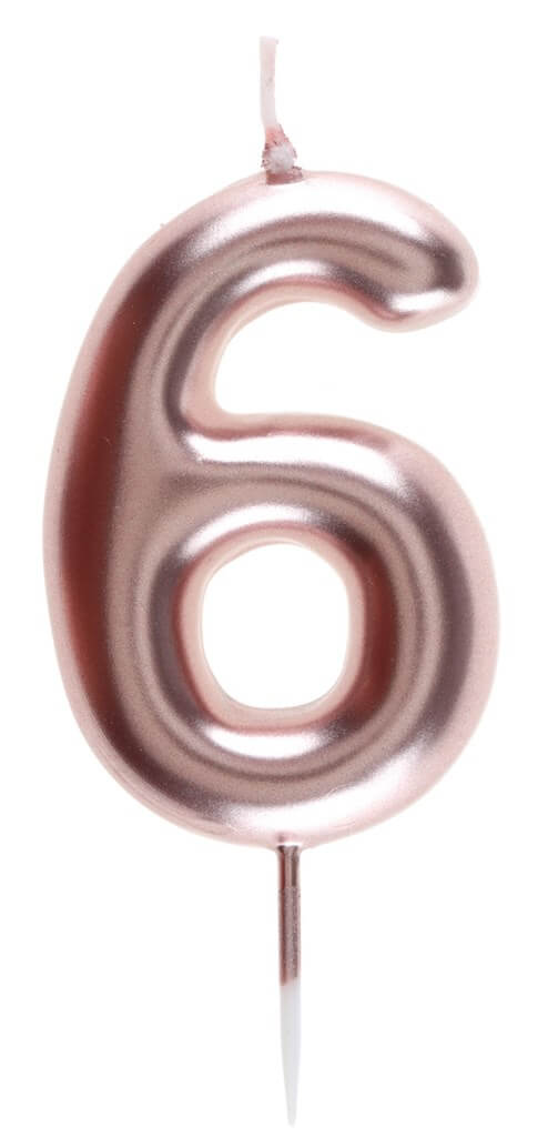 Bougie Anniversaire Chiffre 6 Or rose