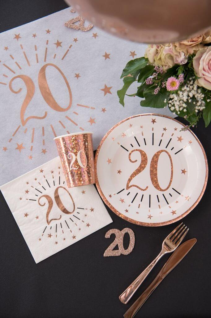 Assiette en papier 20 ans Blanc/Or Rose(lot de 10)